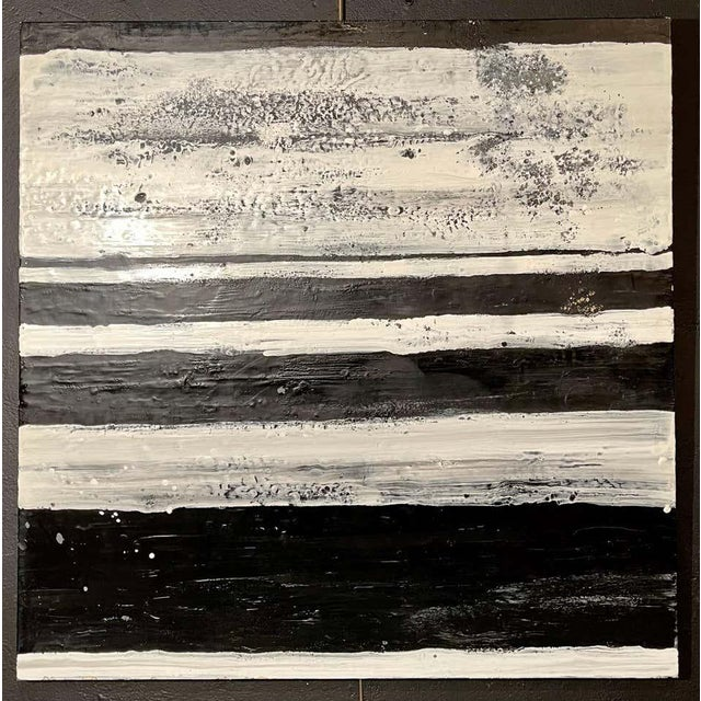"Black Lynn Basa Encaustic Black and White Stripe Panel ""The Speckled Band"" 2013 For Sale - Image 8 of 11"