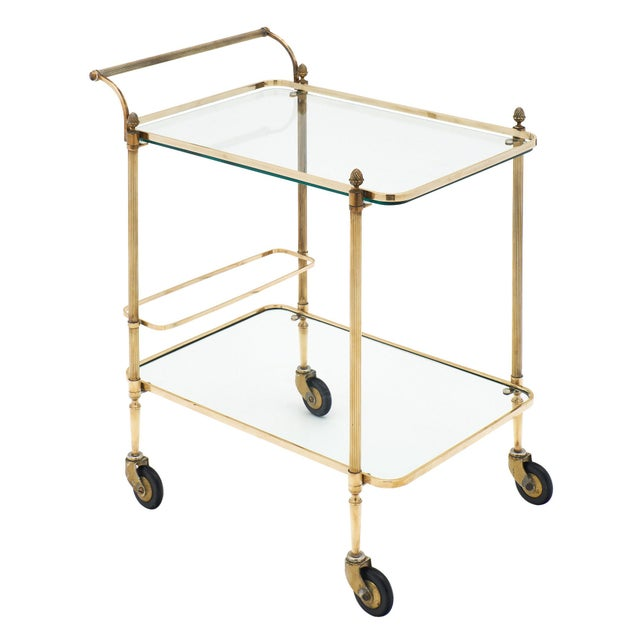 French Art Deco Period Brass Bar Cart With Finials For Sale - Image 10 of 10