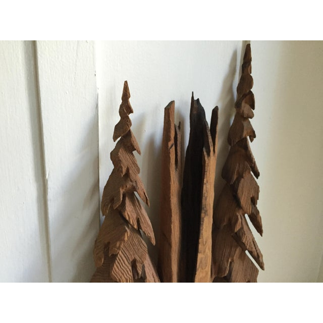 Vintage Rustic Redwood Carving Wall Hanging For Sale - Image 7 of 8