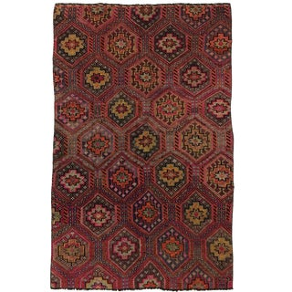 Vintage Turkish Embroidered Kilim in Scarlet and Jewel Tones | 6 X 9 For Sale