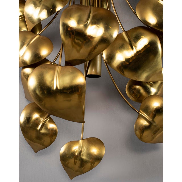 Gold Cascading Leaves Gilt Metal Light Fixture Attributed to Maison Jansen For Sale - Image 8 of 13