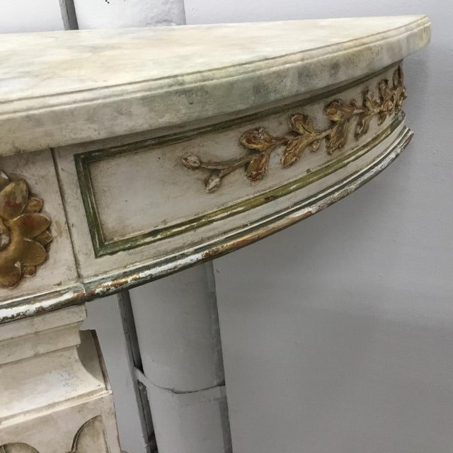 1920s Italian Painted Carved and Gilt Demi Lune Console Tables - a Pair For Sale - Image 9 of 13