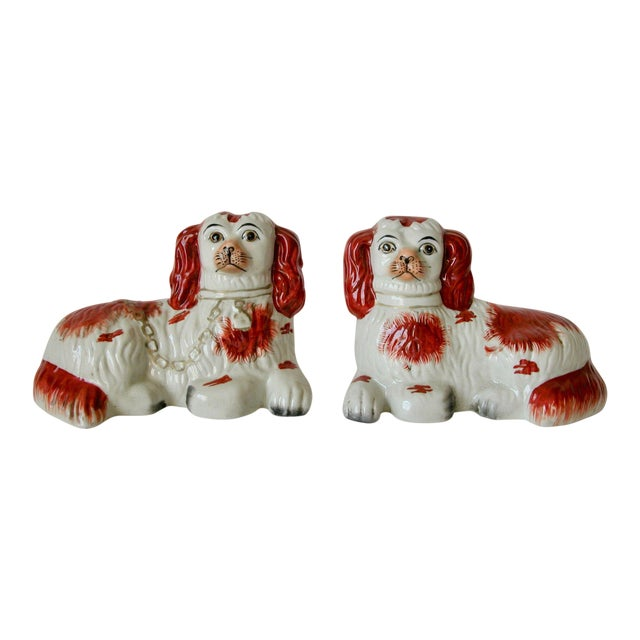 Vintage Mid-Century Staffordshire Style Spaniel Figurines - A Pair For Sale