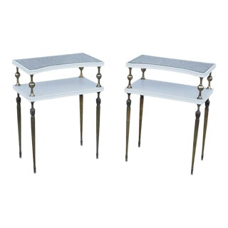 1950s French Brass Two-Tier End Tables - a Pair For Sale