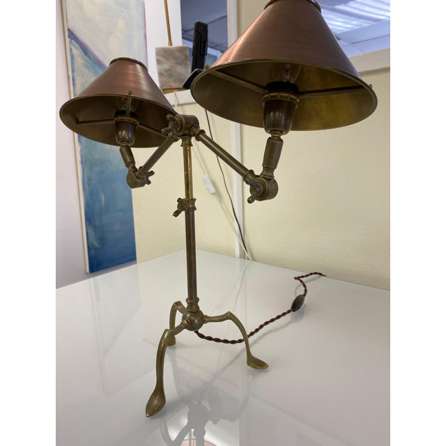 Metal Ferrante Articulating Table Lamps With Shades - a Pair For Sale - Image 7 of 8