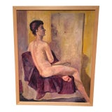Image of Mid-Century Seated Female Nude Oil Painting For Sale