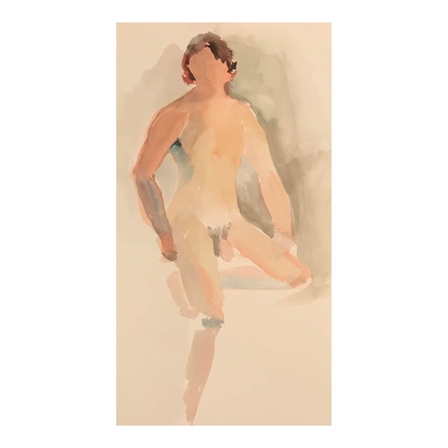 Vintage Figurative Posing Male Studio Nude Watercolor Painting For Sale