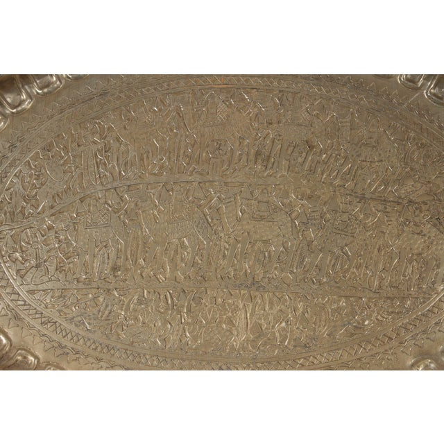 Figurative Antique Persian Wall Hanging Silvered Tray For Sale - Image 3 of 8