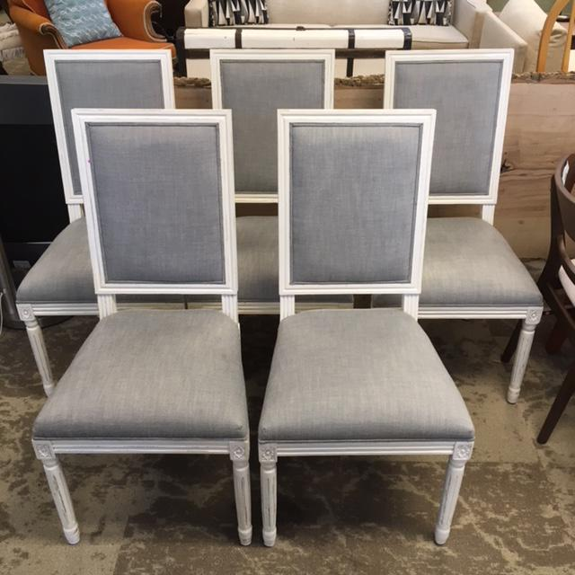 White Restoration Hardware French Dining Chairs - Set of 5 For Sale - Image 8 of 8