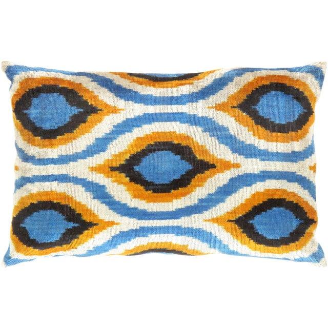 Blue, Yellow & White Silk Velvet Ikat Pillow - Image 1 of 2