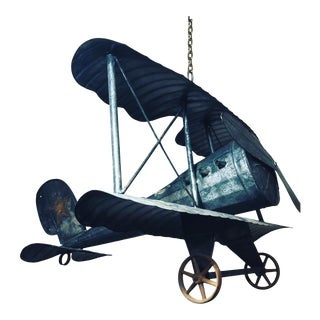 Large Tin Airplane Sculpture by Michael Bonne For Sale