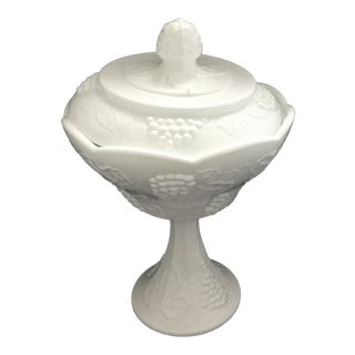 1960s Vintage Milk Glass Candy Dish For Sale