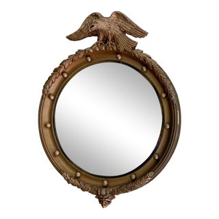 Vintage Gilt Wood Federal Eagle Convex Mirror For Sale