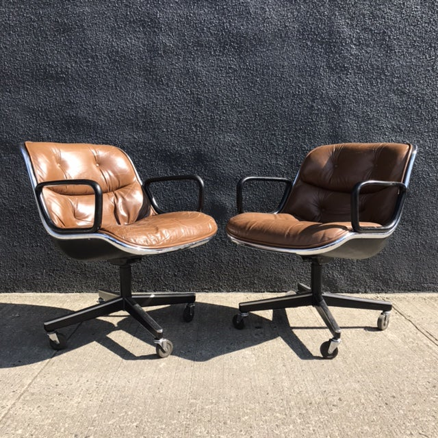 Charles Pollock for Knoll Brown Leather Office Chairs - a Pair - Image 3 of 7
