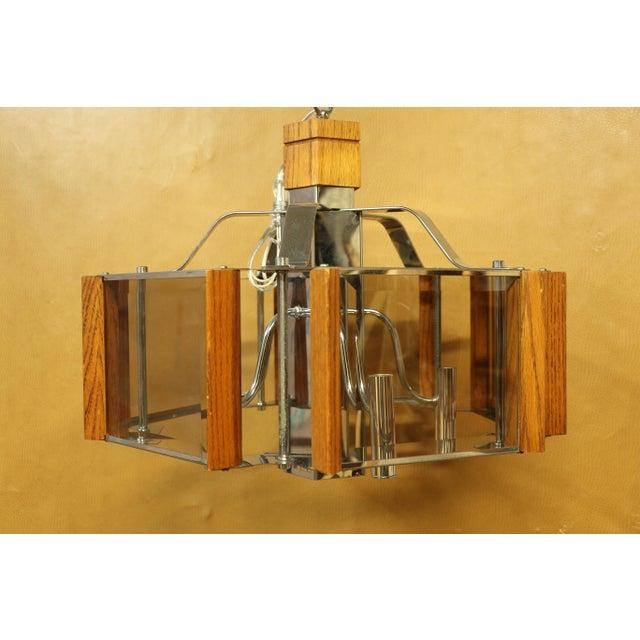 Fredrick Ramond Lighting Oak, Chrome and Glass Pendant Chandelier For Sale - Image 12 of 13