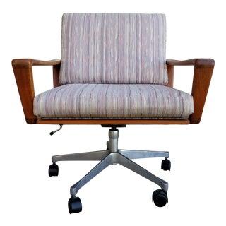 Teak Danish Modern Swivel Desk or Office Chair by Komfort For Sale