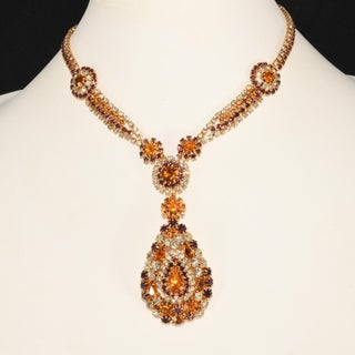 Purple & Clear Rhinestone Dangling Necklace & Earrings Set With Amber Preview