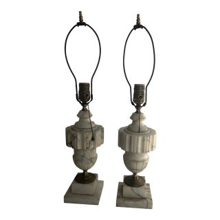 Carved Alabaster & Brass Lamps - a Pair For Sale