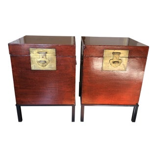 Asian Leather Trunks on Custom Iron Bases - a Pair For Sale