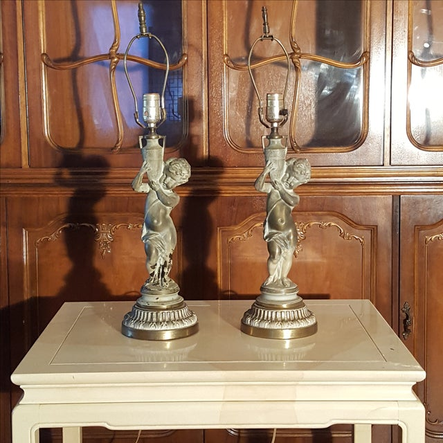 19th C French Patinated Bronze Cherub Lamps - Pair - Image 2 of 7