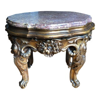 Baroque Gilt Granite Table For Sale