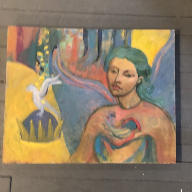 Vintage Original Expressionist Female Portrait Painting With Bird For Sale In Philadelphia - Image 6 of 6