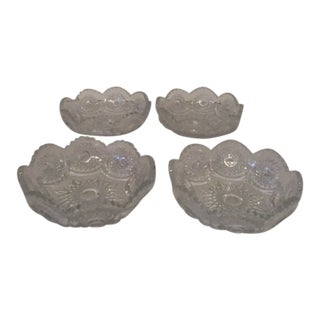 "Edwardian Heisey Sunburst Glass Nappy Bowls, Ohio, 1904 - Set of 4, Hallmarked W/ ""H"" For Sale"