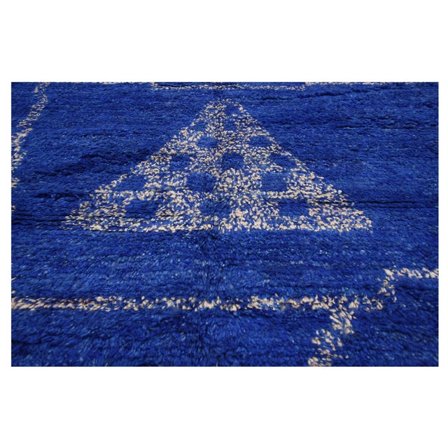 New Contemporary Blue Moroccan Area Rug With Modern Bauhaus Style - 12'4 X 15'3 For Sale - Image 9 of 10