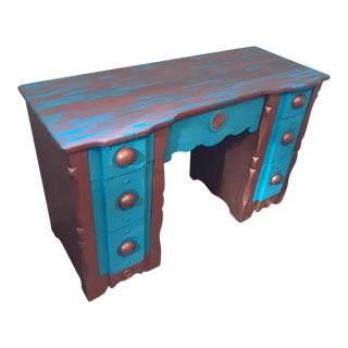 Traditional Turquoise & Bronze Desk