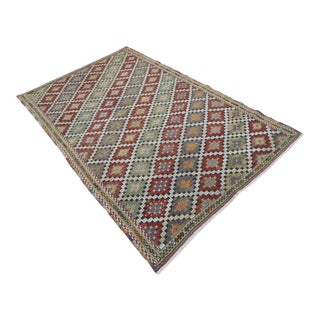 "Vintage Turkish Kilim Rug-5'7'x8'11"" For Sale"