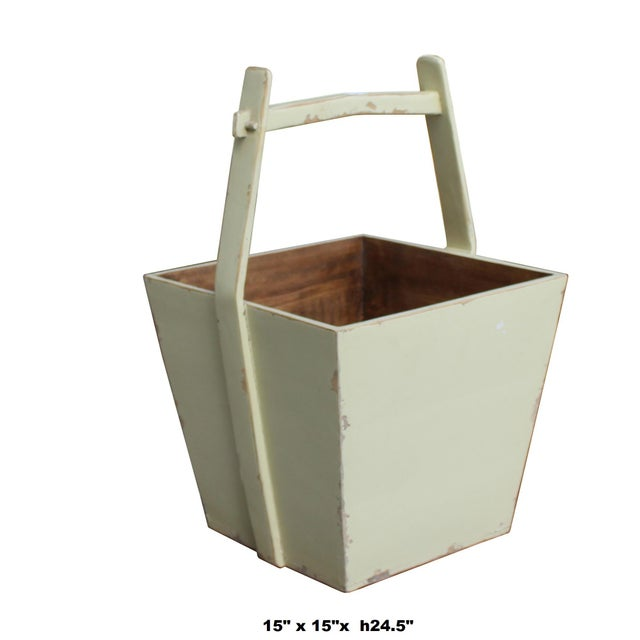 2010s Traditional Chinese Village Vintage Wood Off White Square Handle Bucket For Sale - Image 5 of 6