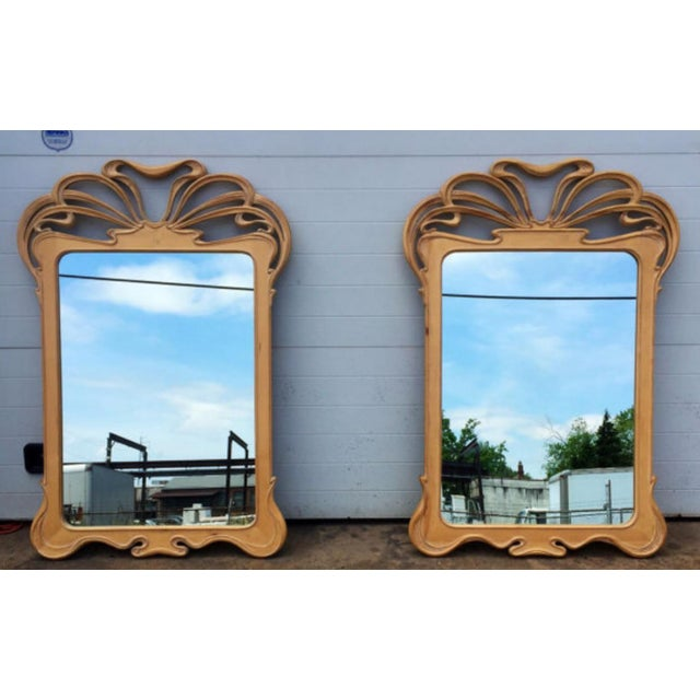 Art Nouveau Carved Wall Mirrors - A Pair - Image 2 of 6