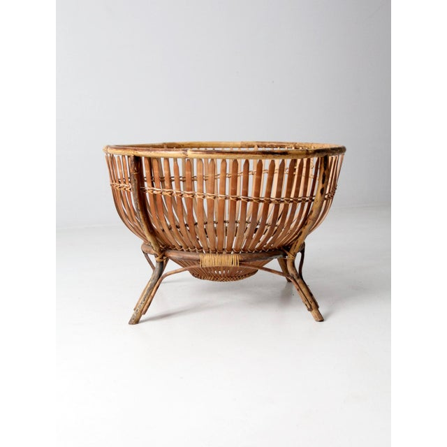 Mid-Century Rattan Basket For Sale - Image 6 of 13