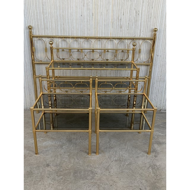 Mid Century Modern Full Brass Headboard Featuring Gometrical FIgure For Sale In Miami - Image 6 of 10