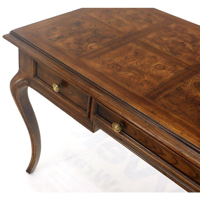 Brown Henredon Cabriole Leg 3-Drawer Burl Wood Writing Table Desk Console For Sale - Image 8 of 13