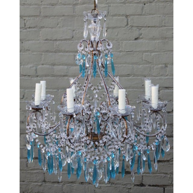 Italian Crystal Beaded Chandelier $3,400 For Sale - Image 9 of 9