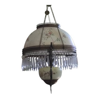 Antique Late 19th Century Electrified Hanging Oil Lamp Chandelier For Sale