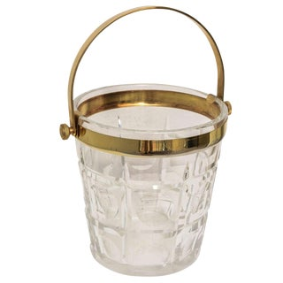 Hollywood-Regency Ice-Bucket in Crystal With Brass Accents: American, 1940s For Sale