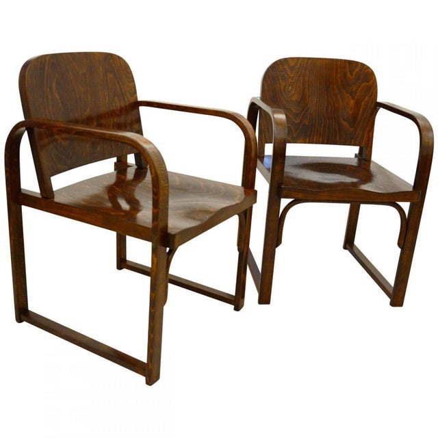 Brown Czech beech & bentwood armchair from Tatra For Sale - Image 8 of 8