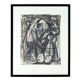 Mid Century Modern Framed Original Abstract Marker Drawing Signed Clark 1960 For Sale