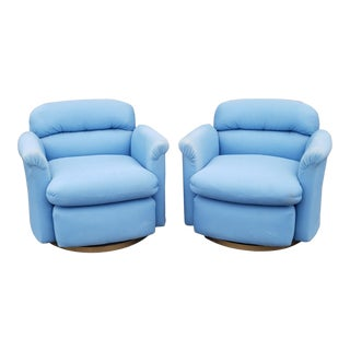 Pair Contemporary Vintage 1970s T. Coggin Style Swivel Club Armchairs For Sale