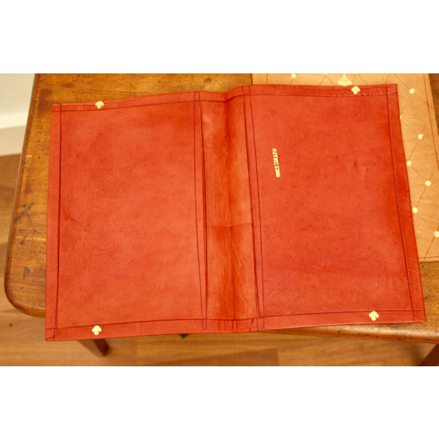Gold Stamped Moroccan Leather Book Covers - A Pair For Sale - Image 9 of 11
