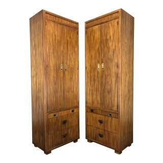 Drexel Heritage Passage Campaign Style Armoires / Cabinets - Pair For Sale