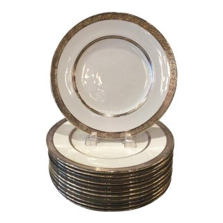 1930s Sterling Silver Overlay Dinner Plates - Set of 12 For Sale