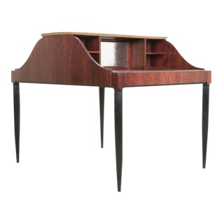 French Early 20th Century Art Deco Mahogany Partners Desk For Sale