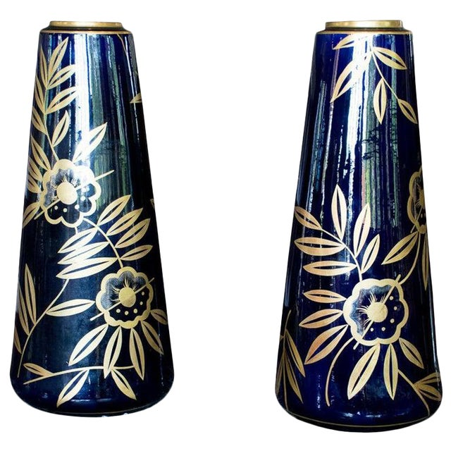 Art Nouveau Cobalt Blue and Gold Vases by Gustave Asch, Pair For Sale