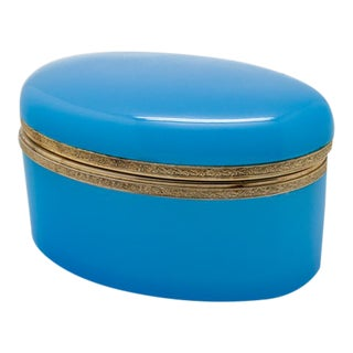Vintage Large Oval Blue Opaline Glass Box For Sale