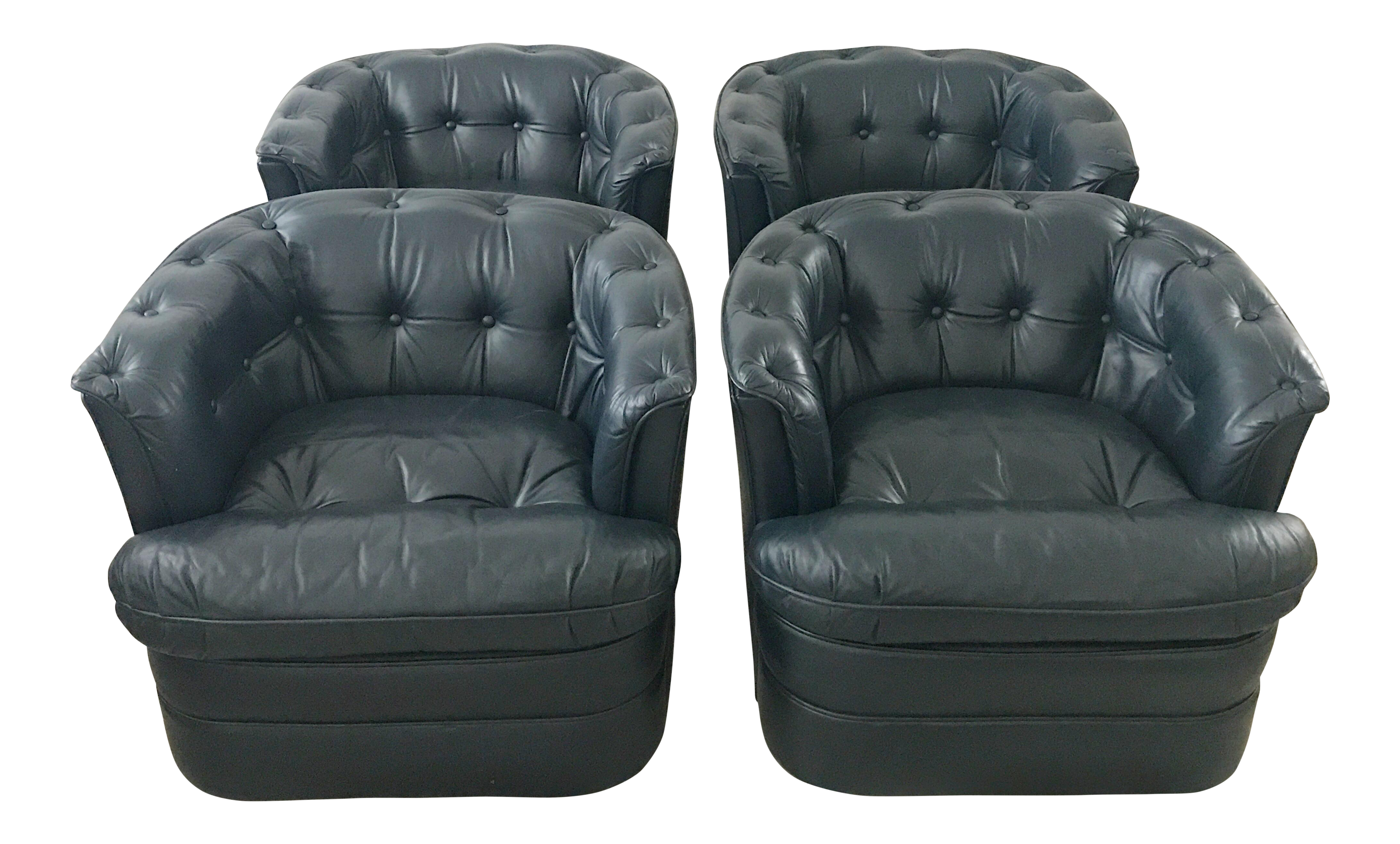 Vintage Navy Blue Leather Tufted Club Chairs   Set Of 4