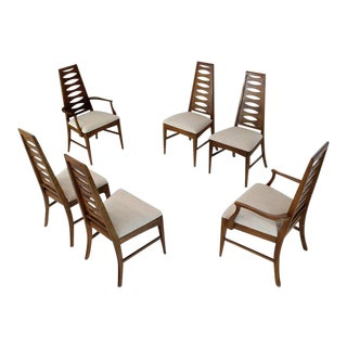 Mid-Century Modern Tall Tapered Shape Back Dining Chairs - Set of 6 For Sale