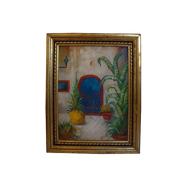 Southwest Courtyard Garden Door Oil Painting, 1920s - Image 1 of 5